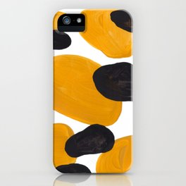 Mid Century Abstract Black & Yellow Fun Pattern Floating Mustard Bubbles Cheetah Print iPhone Case