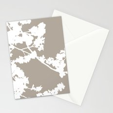 Cherry Blossoms Neutral Taupe Brown Stationery Cards