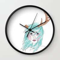 antler Wall Clocks featuring Antler by okayleigh