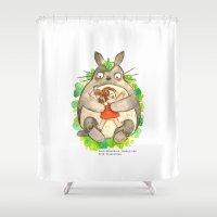 hayao miyazaki Shower Curtains featuring Miyazaki Hug by Super Group Hugs