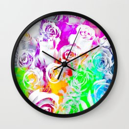 rose texture abstract  with colorful painting abstract background in pink blue green red yellow purp Wall Clock