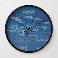 blueprint Wall Clocks featuring Riversong Screwdriver Blueprint by JackEmmett