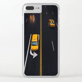 Taxi on the Street (Color) Clear iPhone Case