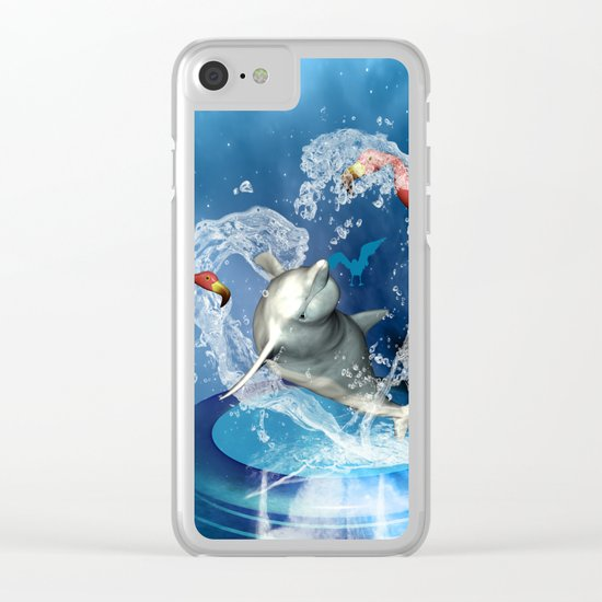 Dolphin jumping by a heart Clear iPhone Case