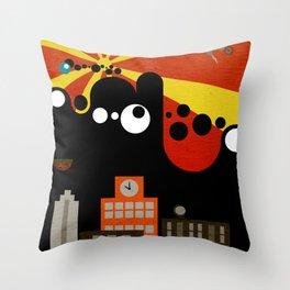 Black Blob Attack Throw Pillow