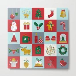 Fun Christmas Pattern Metal Print