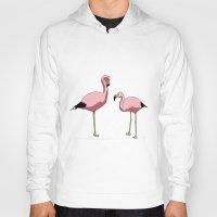 flamingos Hoodies featuring Flamingos by Mora