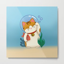 Underwater Lucky Cat Metal Print