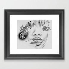 Rihanna - Shine bright like a diamond 'Shhh..' lips - Ashley Rose Framed Art Print