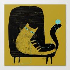 YELLOW CAT BLACK CHAIR Canvas Print