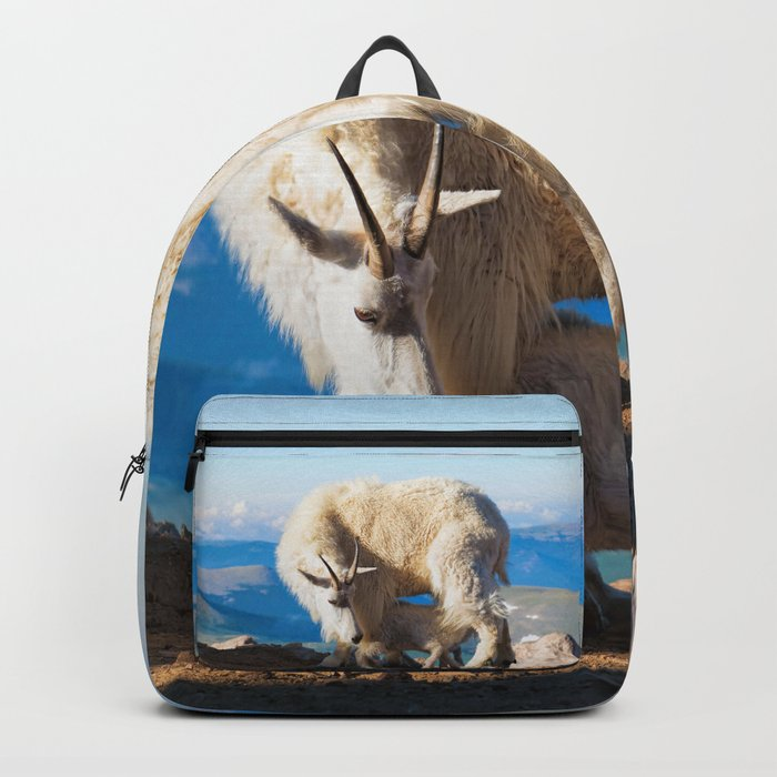 mountain goats nanny and kid backpack by olenaart society6