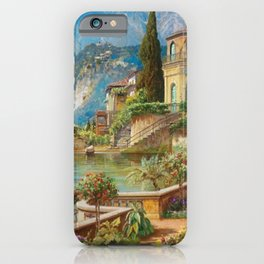 Lakeside Flower Garden Landscape Painting, Lake Como, Italy iPhone Case