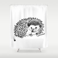 pen Shower Curtains featuring hedgehog pen by V.Live