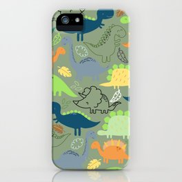 Dinosaurs jungle pattern iPhone Case