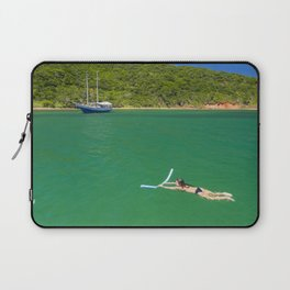 Woman swimming in green waters in Brazil Laptop Sleeve