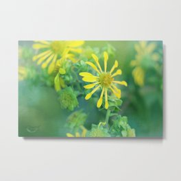 Yellow Pinwheel Flowers Metal Print