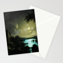 Classical Masteripiece 'A Castle and Lake by Moonlight' by Abraham Pether Stationery Cards