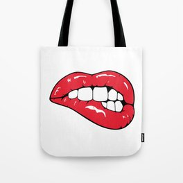 Red Lips Pop art Tote Bag