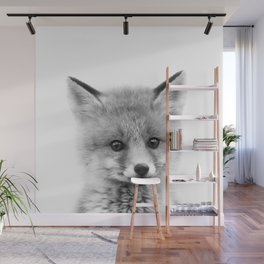 Baby Fox Black & White, Baby Animals Art Print by Synplus Wall Mural