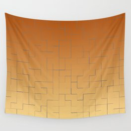 Blue square fragments on a orange and beige background Wall Tapestry