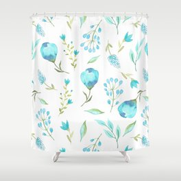 Blue watercolor flowers Shower Curtain