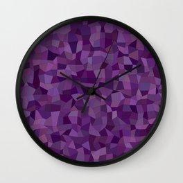 Purple mosaic rectangles Wall Clock