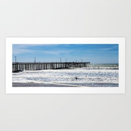 A Panoramic View Of Pismo Beach Pier, Surfers And Ocean Art Print