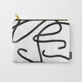 Linocut abstract minimal black and white art minimalist decor office dorm college Carry-All Pouch