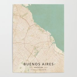 Buenos Aires, Argentina - Vintage Map Poster