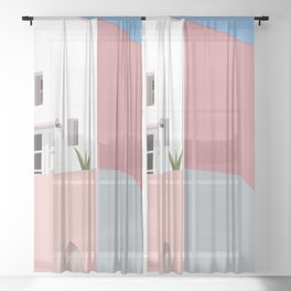 Postcard in pink Sheer Curtain
