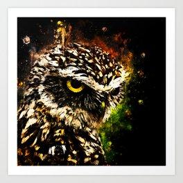 burrowing owl splatter watercolor Art Print