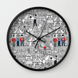 retro circus bw col Wall Clock