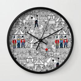 retro circus bw col Wall Clock