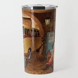 Pin up girl in nostalgic workshop Travel Mug