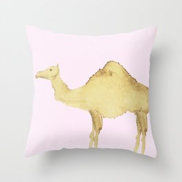 Coffee Stain Camel Throw Pillow