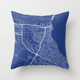 Corpus Christi Map, USA - Blue Throw Pillow
