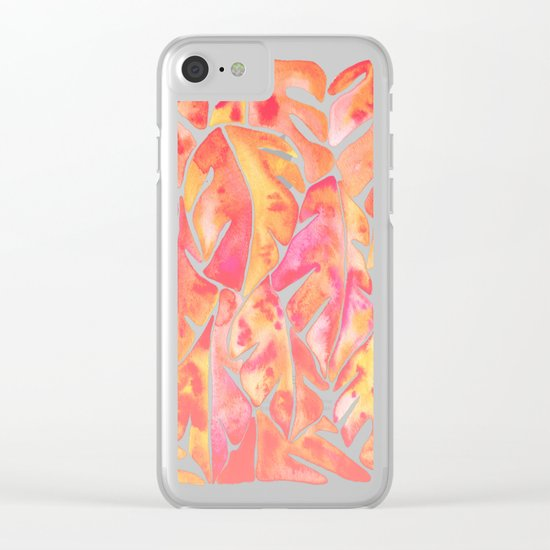 Split Leaf Philodendron – Melon Palette Clear iPhone Case