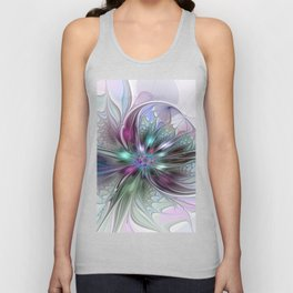 Colorful Fantasy Abstract Modern Fractal Flower Unisex Tank Top