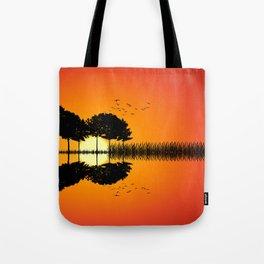 guitar island sunset ill Tote Bag