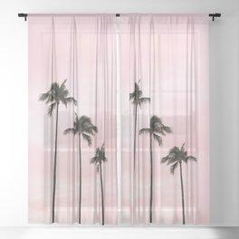 Palm Tree Photography Peach   Blush Pink   Millennial Pink   Miami Sheer Curtain