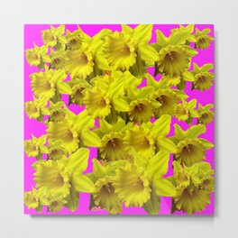 YELLOW SPRING DAFFODILS ON  VIOLET PURPLE ART Metal Print