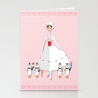 mary poppins Stationery Cards featuring Mary Poppins by AmadeuxArt
