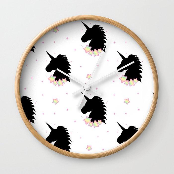 cute cartoon patern wih black unicorn silhouette with rainbow stars Wall  Clock