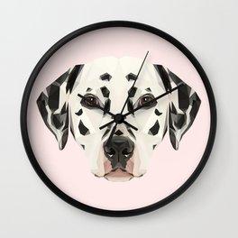 Dalmatian // Pastel Pink Wall Clock