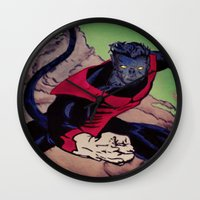 nightcrawler Wall Clocks featuring The Amazing Nightcrawler by mataspey86
