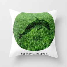 Hipster Dolphin. Throw Pillow
