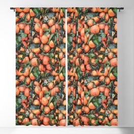 Fresh Oranges With Green Leaves Pattern Blackout Curtain