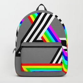 Six Stripe Hexagram Black White and Rainbow Backpack