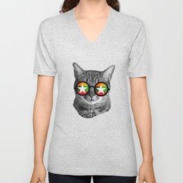 Funny Cat Tshirt - Myanmar Unisex V-Neck