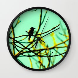 hummingbird in the ash tree Wall Clock